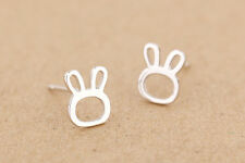 Solid 925 Sterling Silver Small Rabbit Bunny Head Stud Earrings Gift Pouch