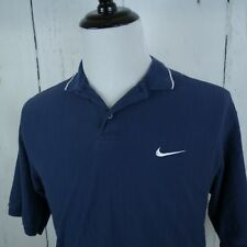 Nike Golf Medium Men S/S Solid Blue Button Collared Polo Rugby Shirt B4