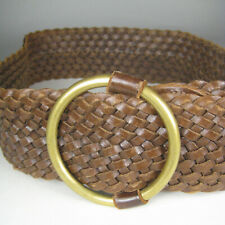 J M Davidson Belt Women Size S 32 In Brown Leather Wide Buckle Distressed Woven