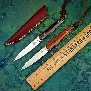 Drop Point Knife Hunting Survival Combat Tactical Damascus Steel Wood Handle Cut