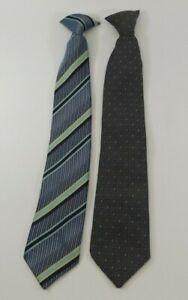 Teen Boy Clip on Tie Lot Blue/Silver/Yellow Stripe, Gray Pattern