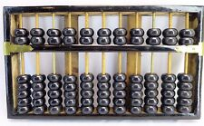 Vintage LOTUS FLOWER BRAND Chinese Wooden Abacus Black 11 column 77 Beads 1940s