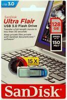 SANDISK Silver Ultra Flair USB 3.0 Flash Drive Memory Stick 128 GB 130MB/s