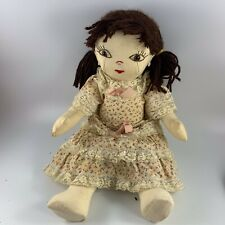 Vintage 1970's Era Handmade Cloth Stuffed Doll With Sewn Features