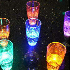 New listing 6 Led Light Colorful Champagne Wine Flute Glasses Cups Wedding Party Flutes