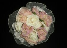 Wedding Bouquet Pastel Rose Bride Flowers White Peach Pink Green silk artificial