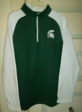 """New listing MICHIGAN ST SPARTANS FLEECE PULLOVER-COLOSSEUM MENS 22"""" CHEST 30"""" LONG/GREEN-WHT"""