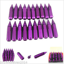 20pcs M12X1.5 Purple Spiked Lug Nuts 60mm Car Racing Wheels Rims Extended Tuner