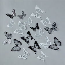 18Pcs 3D Butterfly Sticker Art Wall Decal Home Decoration Room Decor Black White