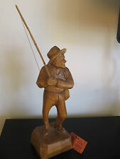 CARON Signed Quebec Wood Fisherman Carving Figurine