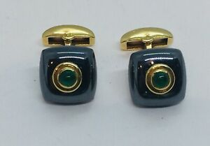 Deakin & Francis English 18k Yellow Gold Emerald & Hematite Cufflinks