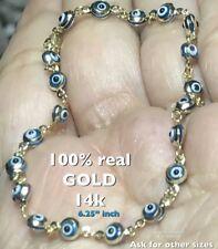 """GOLD Good luck evil eye Bracelet 14k blue white Kabbalah 6.25"""" 4.19mm 2.2g"""
