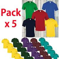 Boys Girls Kids Plain School Childrens SNS APPAREL Youth Pack of 5 New T shirt