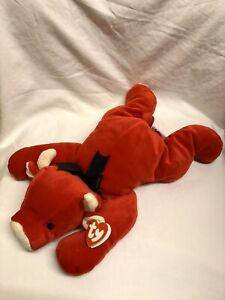 Red The Bull Ty Pillow Pals Soft Toy New With Tags