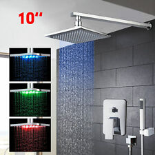 LED 10 Inch Chrome Bathroom Units Rainfall Shower Head &Handshower Mixer Tap Kit
