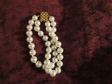 Vintage Faux Double Strand Pearl 16 Inch Necklace and 6 Inch Bracelet Set