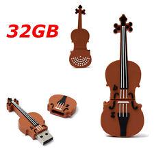 32G USB 2.0 Cartoon Mini Violin Model Flash Memory Stick Storage Pen Drive Gifts