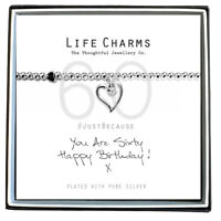 60th Birthday Jewellery Gift | Silver Plated Bracelet & Heart Charm in Gift Box