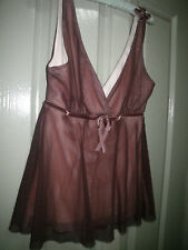 Petite Women Teen S Warm Dark Brown Plunging V Neck Double Layer Sheer Lined To
