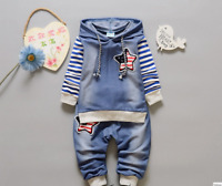 2pcs Kids Baby clothes baby clothes denim outfits hoodie top+ jeans outfits