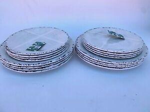 Tommy Bahama Set of 16 Melamine Salad, Dinner Plates White, Grey, Black New