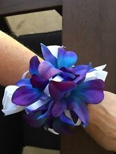 Blue Purple Real Touch Orchid Wedding Graduation Bridal Flower Wrist Corsage