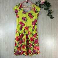 Isaac Mizrahi Live Floral Knit Dress Women's Size XS Bold Yellow Short-Sleeved
