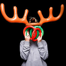 Inflatable Reindeer Christmas Xmas Antler Hat with Party 4 Game Toss Toys R S7N1