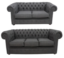 Chesterfield 3 Seater + 2 Seater Suite Charles Linen Charcoal Grey Sofa Settee