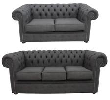 Chesterfield 3 places + 2 places suite Charles lin gris anthracite Sofa Canapé