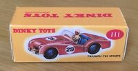 Dinky 111 Triumph TR2 Sports Empty Repro Box Only
