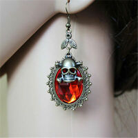 Gothic Halloween Skull Crystal Earrings Vintage Steampunk Punk Party Eardrop