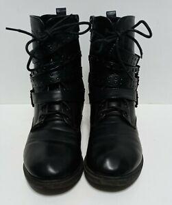 Torrid Black Strappy Lace Up Combat Boots 11 Gothic Biker Straps Buckles & Studs