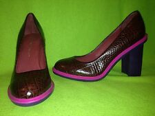 Burgundy Reptile Leather United Nude Heels with Purple Rubber Sole 9.5