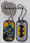 DC COMICS 2 Dog Tags KEYCHAINS Justice League BATMAN SUPERMAN FLASH WW JOKER
