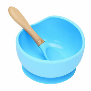 Food Grade Silicone Suction Bowl With Bamboo Spoon Feeding for Kids Toddlers