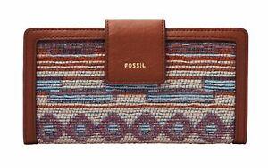 FOSSIL Logan RFID Tab Clutch Geldbörse Fall Multi Rot Blau Neu