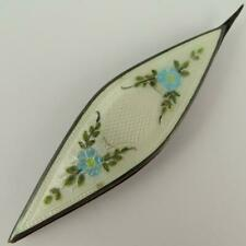 ANTIQUE WEBSTER FLORAL WHITE GUILLOCHE ENAMEL STERLING SILVER TATTING SHUTTLE