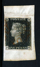 GB QV PENNY BLACK 1840 Plate 7 PE  Red Maltese Cross SG 1 (Specialised AS44) VFU