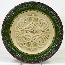 "Grasslands Road Blessings 8"" Plate Embossed Irish Proverb Shamrocks Celtic Knot"