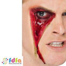 LATEX ZIP FACE MUTILATION SCAR ZOMBIE HALLOWEEN - + glue- fancy dress make up