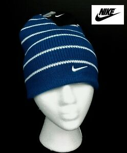 NWT NIKE Boys Blue and White Stripe Knit Cap(Size Youth 8/20) NEW