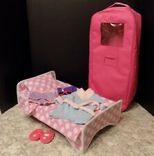 "18"" Doll Travel Case with Bed fits American Girl plus Robe Slipper Undies & More"