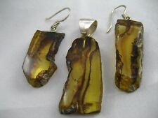 Amber Pendant & Earrings Set - FREE & FAST Shipping, US SELLER, 925 Pure Silver