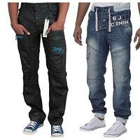 Eto Mens Jeans Designer Jogger Elasticated Waist Casual Denim Pants 28 - 38