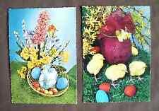2 x vintage 1960s Easter postcards - eggs chicks spring flowers - Kruger