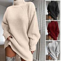 Sweater Pullover Mini Dress Knit Women Turtleneck Warm Tops Long Sleeve Casual