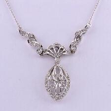 "LUSH Antique 14k White Gold Diamond Chandelier Filigree Pendant Necklace 19"" WOW"