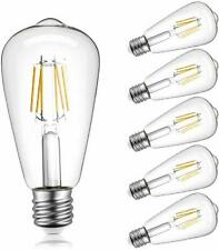 Dimmable Edison LED Light Bulb 2700K Warm White E26 Base Lamp 6 Pack