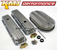 Chevy 305 350 Half Finned Short Polished Aluminum Valve Covers & Air Cleaner Kit